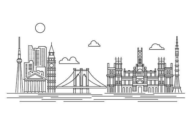 Outline landmarks skyline white and black