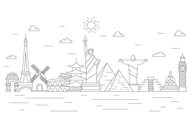 Outline landmarks skyline with ocean waves