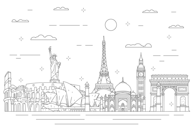 Outline landmarks skyline