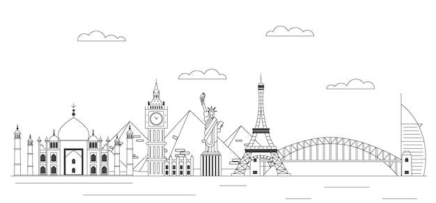Outline landmarks skyline