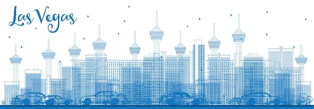 青い建物でラスベガスのスカイラインの概要を説明します。ベクトルイラスト。近代的な建物とビジネス旅行と観光の概念。プレゼンテーションバナープラカードとwebサイトの画像。