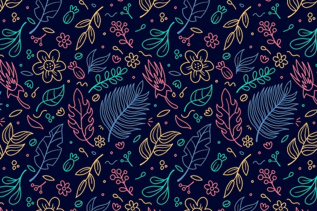 Outline leaves and floral seamless pattern template