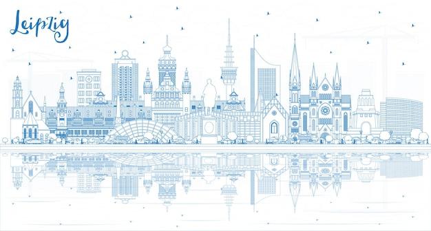 파란색 건물 및 반사와 라이프치히 독일 도시 스카이 라인 개요. 삽화