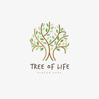 Outline life tree logo symbol template