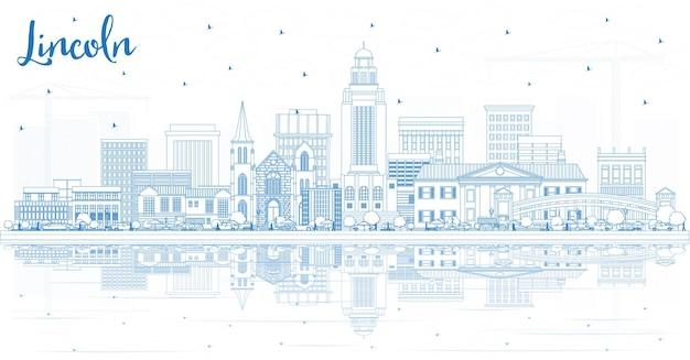 Очертите горизонт линкольна небраски с синими зданиями и отражениями. векторные иллюстрации. деловые поездки и концепция туризма с исторической архитектурой. городской пейзаж линкольна сша с достопримечательностями.