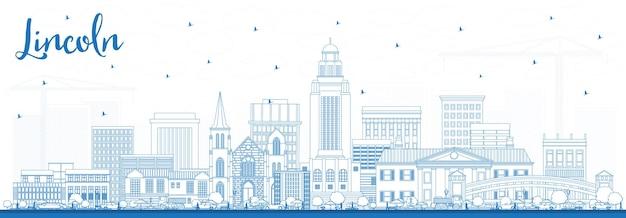 Очертите горизонт линкольна небраски с синими зданиями. городской пейзаж линкольна сша с достопримечательностями.