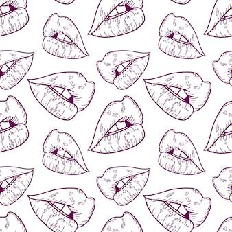 唇のシームレスなパターンの輪郭を描く