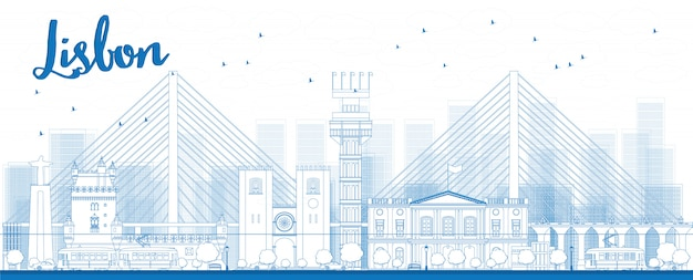 Outline lisbon city skyline with blue buildings
