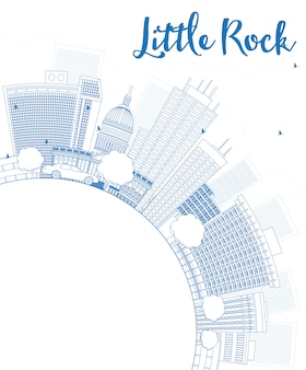 Outline little rock skyline with blue building and copy space