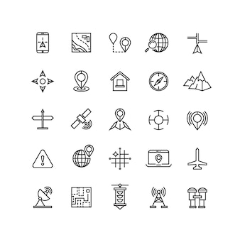 Outline location icons set