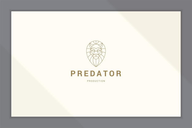 Outline logo of gorgeous lion head line style