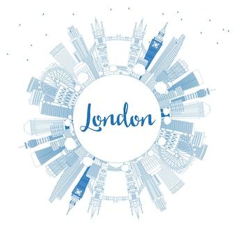 파란색 건물 및 복사 공간이 있는 런던 영국 스카이라인 개요. 벡터 일러스트 레이 션.