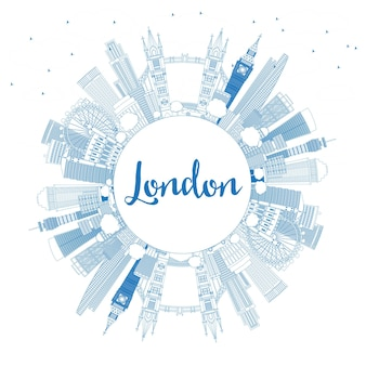 Outline london england skyline with blue buildings and copy space. vector illustration.