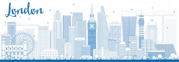 Outline london skyline with blue buildings. Premium Vector