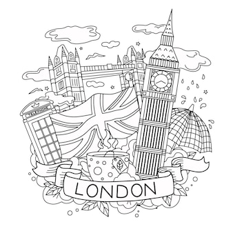 The outline of london travel and tourism vector linear illustration coloring book