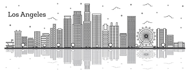 Outline los angeles california city skyline with modern buildings and reflections