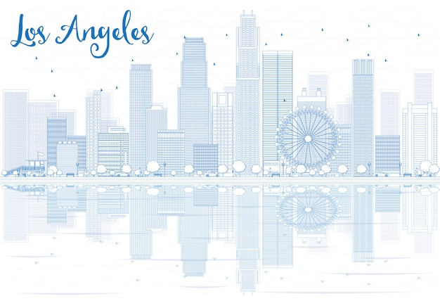 Outline los angeles skyline with blue buildings and reflections.