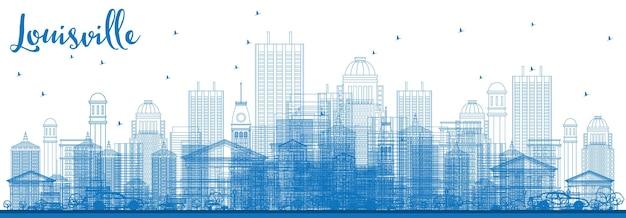 青い建物でルイビルのスカイラインの概要を説明します。ベクトルイラスト。近代建築とビジネス旅行と観光の概念。プレゼンテーションバナープラカードとwebサイトの画像。