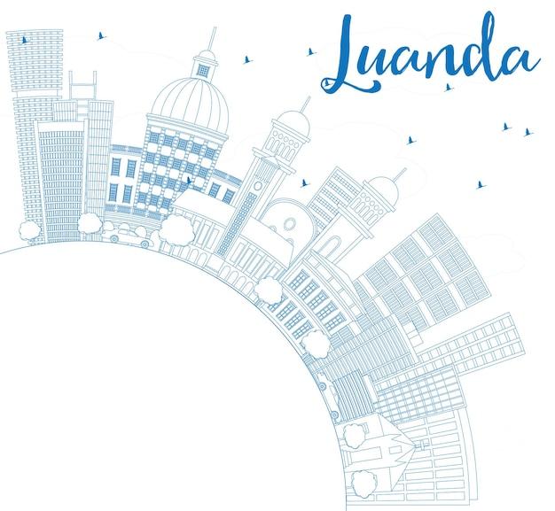 Очертите горизонт луанды с синими зданиями и копией пространства. векторные иллюстрации. деловые поездки и концепция туризма с современной архитектурой. изображение для презентационного баннера и веб-сайта.