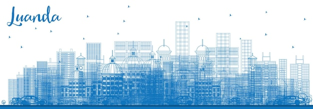 Outline luanda skyline with blue buildings. vector illustration. business travel and tourism concept with modern architecture. image for presentation banner placard and web site.