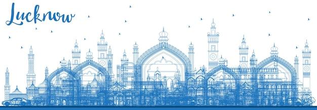파란색 건물이 있는 러크나우 스카이라인 개요. 벡터 일러스트 레이 션. 현대 건축과 비즈니스 여행 및 관광 개념입니다. 랜드마크가 있는 러크나우 도시 풍경.