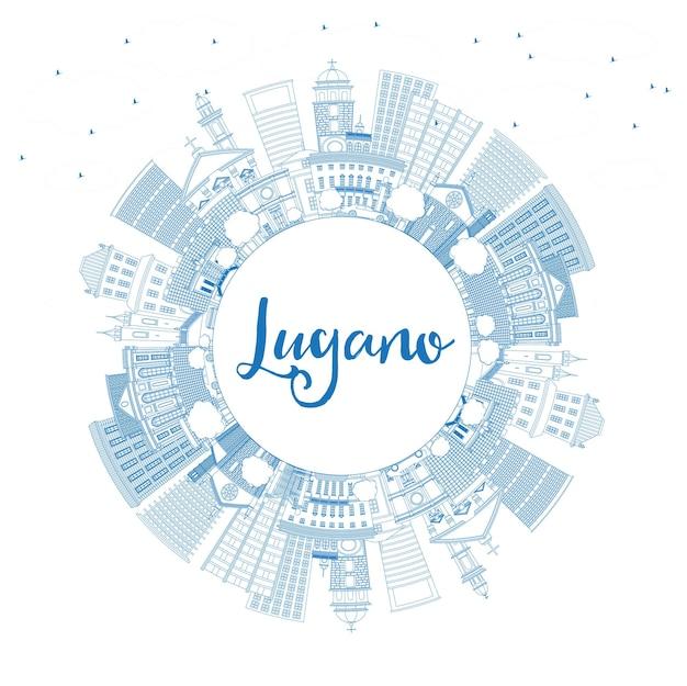 파란색 건물 및 복사 공간이 있는 루가노 스위스 스카이라인 개요. 벡터 일러스트 레이 션. 역사적인 건축과 비즈니스 여행 및 관광 그림입니다.