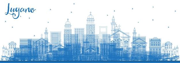 파란색 건물이 있는 루가노 스위스 스카이라인 개요. 벡터 일러스트 레이 션. 역사적인 건축과 비즈니스 여행 및 관광 그림입니다. 랜드마크가 있는 루가노 도시 풍경.