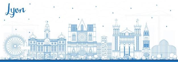 青い建物でリヨンフランスの街のスカイラインの概要を説明します。ベクトルイラスト。歴史的な建築と出張とコンセプト。ランドマークのあるリヨンの街並み