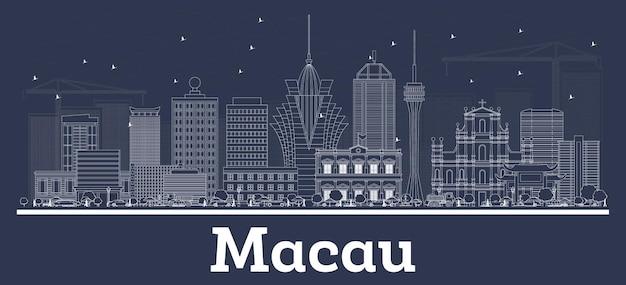 Очертите горизонт города китая макао с белыми зданиями. городской пейзаж макао с достопримечательностями.