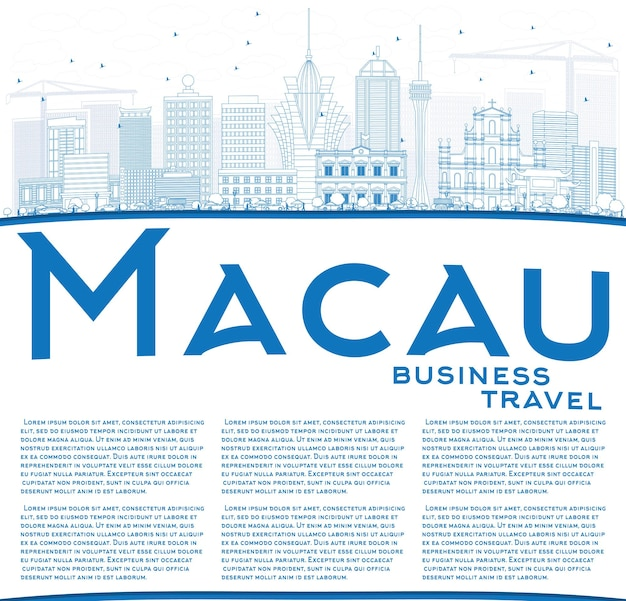 Outline macau skyline with blue buildings and copy space. vector illustration. business travel and tourism concept with modern architecture. image for presentation banner placard and web site.