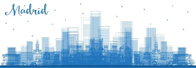 파란색 건물이 있는 마드리드 스페인 도시 스카이라인 개요. 벡터 일러스트 레이 션. 역사적인 건축과 비즈니스 여행 및 관광 개념입니다. 랜드마크가 있는 마드리드 도시 풍경.