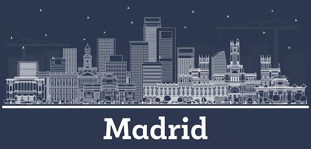 白い建物でマドリードスペインの街のスカイラインの概要を説明します。ベクトルイラスト。歴史的な建築とビジネス旅行と観光の概念。ランドマークのあるマドリードの街並み。