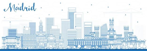 파란색 건물이 있는 마드리드 스페인 스카이라인 개요. 벡터 일러스트 레이 션. 역사적인 건축과 비즈니스 여행 및 관광 개념입니다.