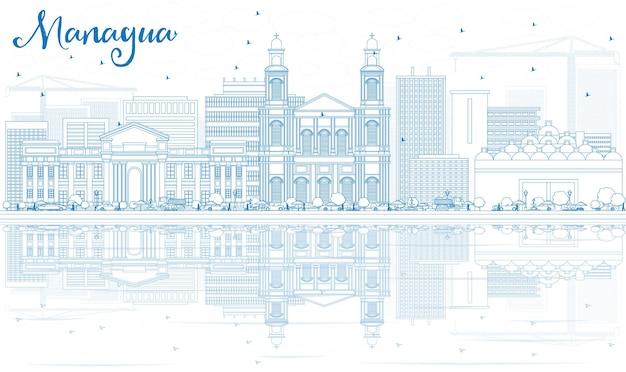青い建物と反射でマナグアのスカイラインの概要を説明します。ベクトルイラスト。近代建築とビジネス旅行と観光の概念。プレゼンテーションバナープラカードとwebサイトの画像。