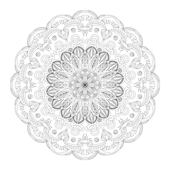 Outline mandala for coloring book page. anti-stress therapy pattern