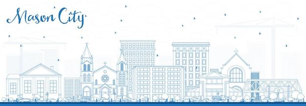 파란색 건물이 있는 메이슨 시티 아이오와 스카이라인 개요. 벡터 일러스트 레이 션. 역사적인 건축과 비즈니스 여행 및 관광 그림입니다.