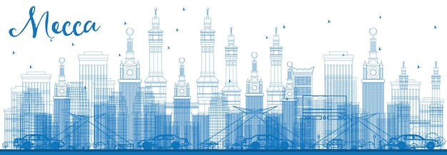 Outline mecca skyline with blue landmarks. vector illustration. travel and tourism concept with historic buildings. image for presentation banner placard and web site.