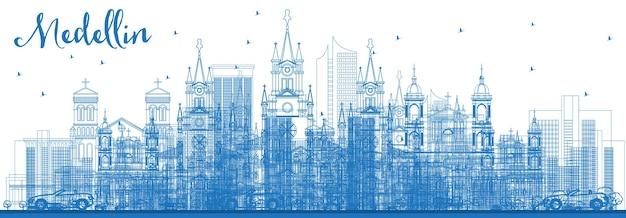파란색 건물이 있는 medellin 콜롬비아 도시 스카이라인 개요. 벡터 일러스트 레이 션. 역사적인 건축과 비즈니스 여행 및 관광 개념입니다. 랜드마크가 있는 메데인 도시 풍경.