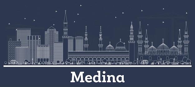 白い建物とメディナサウジアラビアの街のスカイラインの概要を説明します。ベクトルイラスト。近代建築とビジネス旅行と観光の概念。ランドマークのあるメディナの街並み。