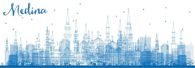 파란색 건물이 있는 개요 메디나 스카이라인. 벡터 일러스트 레이 션. 역사적인 건물과 비즈니스 여행 및 관광 개념입니다. 프레젠테이션 배너 현수막 및 웹사이트용 이미지.