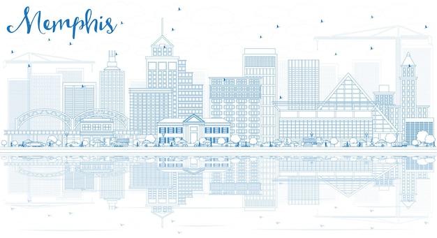 青い建物と反射でメンフィスのスカイラインの概要を説明します。ベクトルイラスト。歴史的な建築とビジネス旅行と観光の概念。プレゼンテーションバナープラカードとwebサイトの画像。