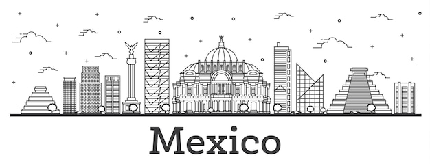 Outline mexico city skyline with historical buildings isolated on white