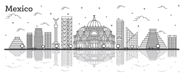 Outline mexico city skyline with historical buildings and reflections isolated on white