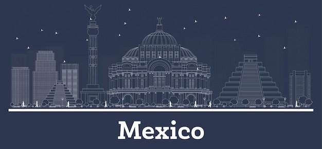 Outline mexico city skyline with white buildings. illustration