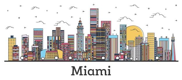 Наброски горизонта города майами флорида с цветными зданиями, изолированными на белом
