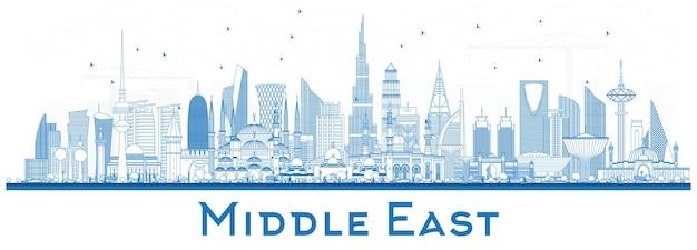 白いベクトル図ドバイに分離された青い建物と中東の街のスカイラインの概要
