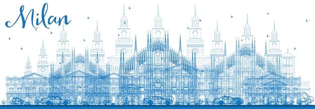 파란색 랜드마크가 있는 밀라노 스카이라인 개요. 벡터 일러스트 레이 션. 역사적인 건물과 비즈니스 여행 및 관광 개념입니다. 프레젠테이션 배너 현수막 및 웹사이트용 이미지.