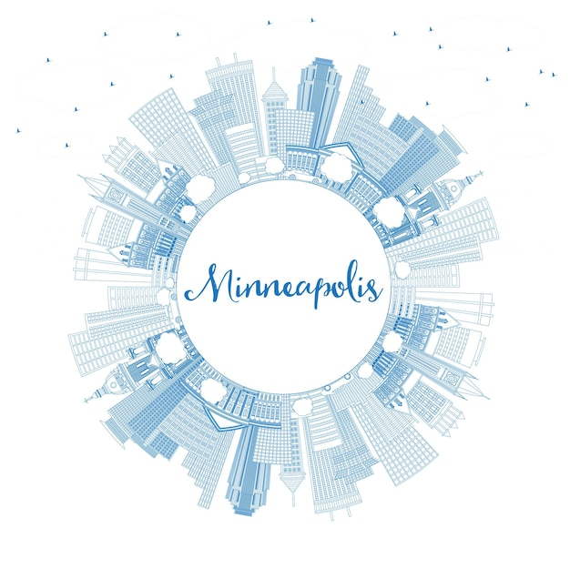 Outline minneapolis minnesota skyline with blue buildings and copy space. vector illustration. business travel and tourism concept with modern architecture. minneapolis usa cityscape with landmarks.