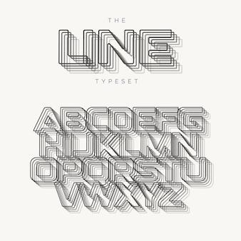 현대 알파벳 개요, 선 벡터 조판, 혼합 효과 문자. 배너, 포스터, 전단지 및 프레젠테이션을 위한 최고의 타이포그래피 디자인. 모노그램 로고 템플릿입니다.