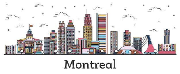 흰색 절연 색상 건물 개요 몬트리올 캐나다 도시 스카이 라인. 벡터 일러스트 레이 션. 랜드마크가 있는 몬트리올 도시 풍경.